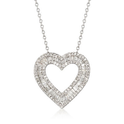1.00 ct. t.w. Baguette and Round Diamond Open-Space Heart Pendant Necklace in Sterling Silver
