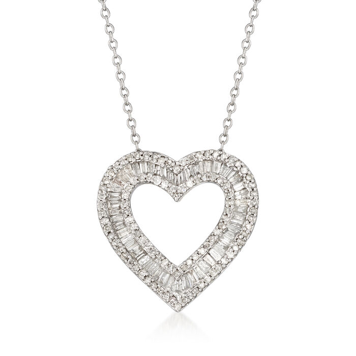 """1.00 ct. t.w. Baguette and Round Diamond Open-Space Heart Pendant Necklace in Sterling Silver. 18"""""""