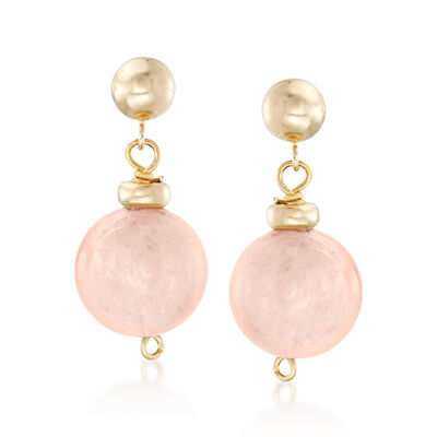 14.00 ct. t.w. Morganite Bead Drop Earrings in 14kt Yellow Gold