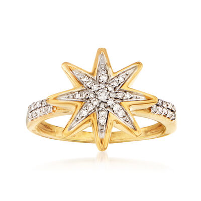 .20 ct. t.w. Diamond Star Ring in 18kt Gold Over Sterling