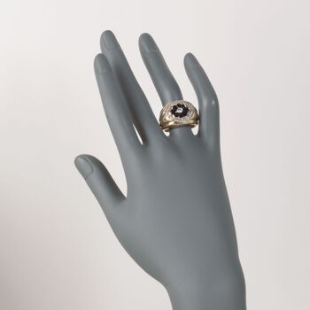 C. 1980 Vintage 1.40 ct. t.w. Sapphire and .35 ct. t.w. Diamond Floral Ring in 14kt Yellow Gold. Size 9
