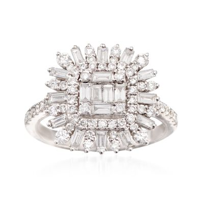 1.16 ct. t.w. Diamond Burst Ring in 18kt White Gold, , default