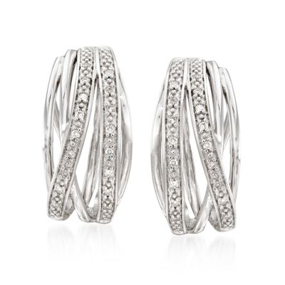 .10 ct. t.w. Diamond Highway Huggie Hoop Earrings in Sterling Silver, , default