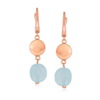 14.00 ct. t.w. Aquamarine Bead and 18kt Rose Gold Over Sterling Disc Drop Earrings, , default