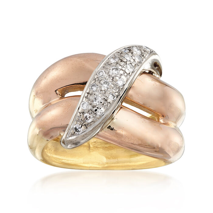 C. 1980 Vintage .25 ct. t.w. Diamond Crossover Ring in 18kt Yellow Gold. Size 5.5, , default