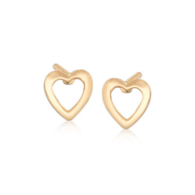 Child's 14kt Yellow Gold Openwork Heart Stud Earrings, , default