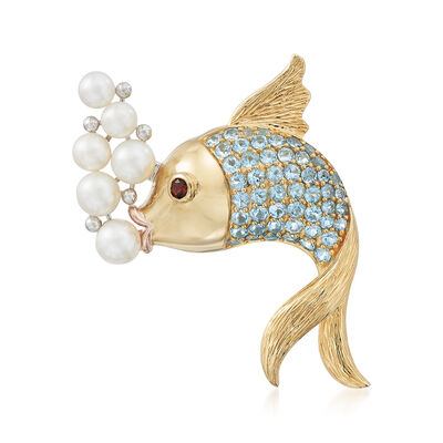 5-7mm Cultured Pearl and Mixed Gemstone Bubble-Blowing Fish Pin in 18kt Gold Over Sterling, , default