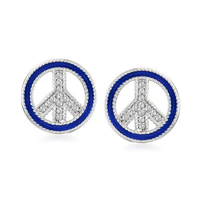 Blue Enamel and .10 ct. t.w. White Topaz Peace Sign Earrings in Sterling Silver