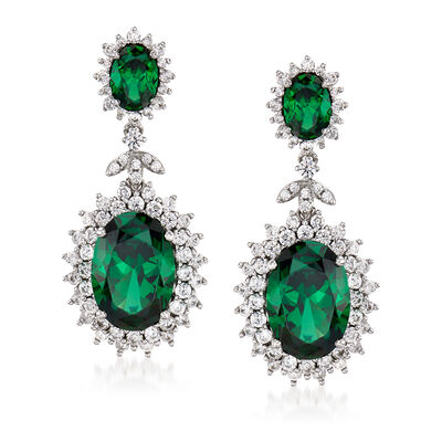 9.50 ct. t.w. Simulated Emeralds and 2.00 ct. t.w. CZ Drop Earrings in Sterling Silver, , default