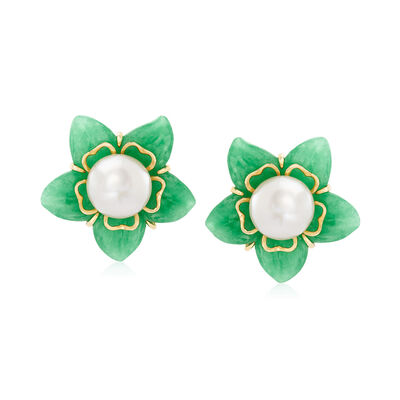 11-11.5mm Cultured Freshwater Pearl and Green Jade Flower Earrings with 14kt Yellow Gold, , default
