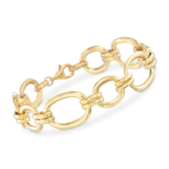 Italian 18kt Gold Over Sterling Oval Link Bracelet. 7.5""