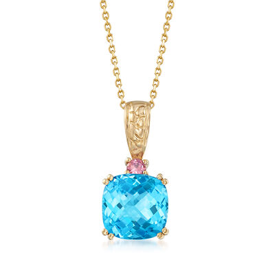 4.50 Carat Blue Topaz and .10 ct. t.w. Pink Tourmaline Pendant Necklace in 14kt Yellow Gold, , default
