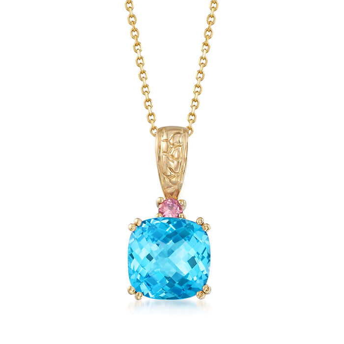 "4.50 Carat Blue Topaz and .10 ct. t.w. Pink Tourmaline Pendant Necklace in 14kt Yellow Gold. 20"", , default"