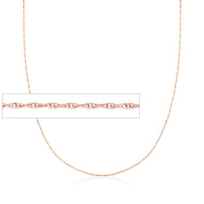 .7mm 14kt Rose Gold Rope Chain Necklace
