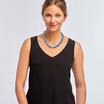 12-13mm Cultured Baroque Pearl and 230.00 ct. t.w. Aquamarine Bead Necklace in 14kt Yellow Gold, , default