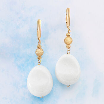 Oval White Jade Bead Drop Earrings in 18kt Gold Over Sterling