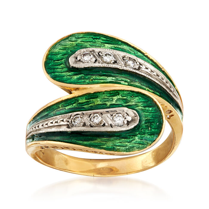 C. 1960 Vintage Green Enamel Bypass Ring with .15 ct. t.w. Diamonds in 18kt Yellow Gold. Size 9, , default