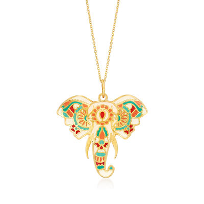 Multicolored Enamel Elephant Head Pendant Necklace in 14kt Yellow Gold