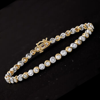 """Bezel-Set 3.00 ct. t.w. Diamond Tennis Bracelet in 14kt Two-Tone Gold. 7"""", , default"""