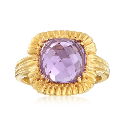 3.00 Carat Amethyst Ring in 18kt Gold Over Sterling