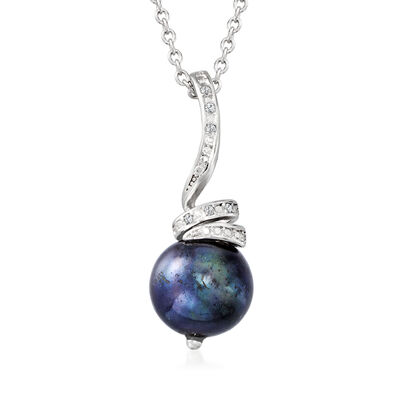 10-11mm Black Cultured Pearl Pendant Necklace with Diamond Accents in Sterling Silver