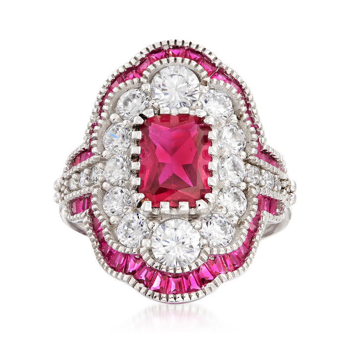 2.48 ct. t.w. Simulated Ruby and 1.55 ct. t.w. CZ Ring in Sterling Silver