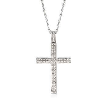 .14 ct. t.w. Diamond Double-Row Cross Pendant Necklace in Sterling Silver, , default