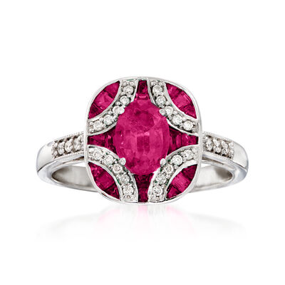 1.40 ct. t.w. Ruby and .13 ct. t.w. Diamond Ring in 14kt White Gold, , default