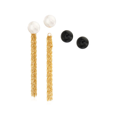 8-9mm Cultured Pearl and Onyx Jewelry Set: Two Pairs of Stud Earrings and Earring Jackets in 14kt Yellow Gold