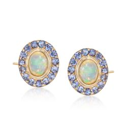 Opal and 1.05 ct. t.w. Tanzanite Earrings in 14kt Gold Over Sterling, , default