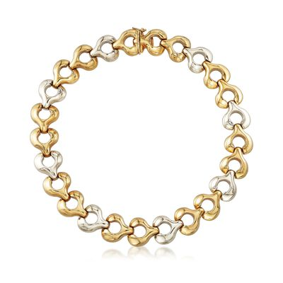 C. 1980 Vintage 18kt Two-Tone Gold Puffed Circle Link Necklace, , default