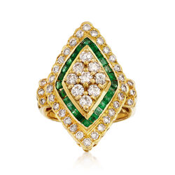 C. 1980 Vintage 1.52 ct. t.w. Diamond and .80 ct. t.w. Emerald Navette Ring in 18kt Yellow Gold, , default