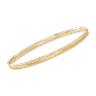 Italian 14kt Yellow Gold Brushed Bangle Bracelet, , default