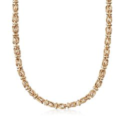 "14kt Yellow Gold Byzantine Necklace. 17.75"", , default"