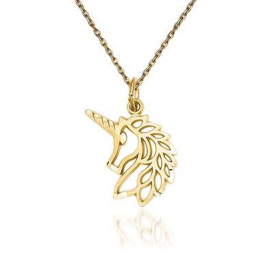 "14kt Yellow Gold Diamond-Cut and Filigree Unicorn Head Pendant Necklace. 18"", , default"