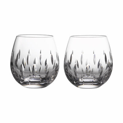 """Waterford Crystal """"Enis"""" Set of 2 Stemless Wine Glasses"""