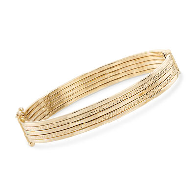 14kt Yellow Gold Alternating Textured and Polished Multi-Row Bangle Bracelet, , default