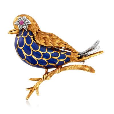 C. 1950 Vintage 18kt Yellow Gold and Blue Enamel Bird Pin