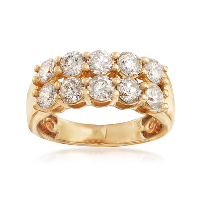 2.00 ct. t.w. Diamond Two-Row Ring in 14kt Yellow Gold, , default