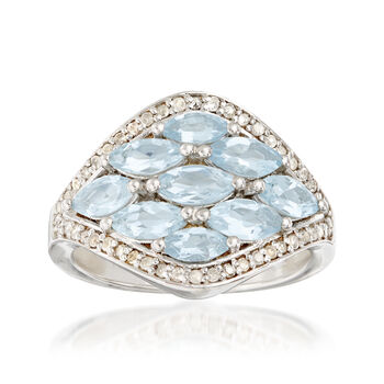1.90 ct. t.w. Aquamarine and .25 ct. t.w. Diamond Ring in Sterling Silver, , default