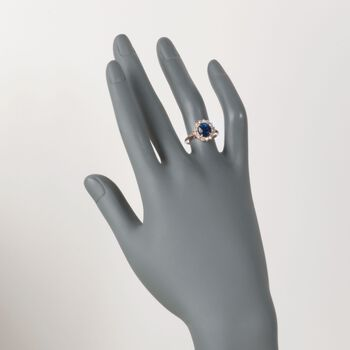C. 1990 Vintage 2.49 Carat Sapphire and .40 ct. t.w. Diamond Ring in 14kt Yellow Gold. Size 7, , default