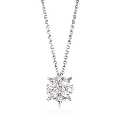 .90 ct. t.w. Multi-Cut CZ Floral Pendant Necklace in Sterling Silver, , default