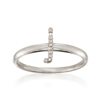 """Diamond Accent Mini Initial """"J"""" Ring in Sterling Silver, , default"""