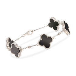 "C. 2000 Vintage Black Onyx Clover Station Bracelet With Diamond Accents in 14kt White Gold. 7"", , default"