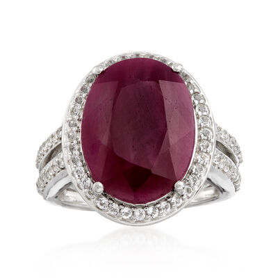 9.25 Carat Ruby and 1.10 ct. t.w. White Topaz Ring in Sterling Silver, , default