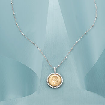 Italian Genuine 20-Lira Coin Pendant Necklace in Sterling Silver. 18""