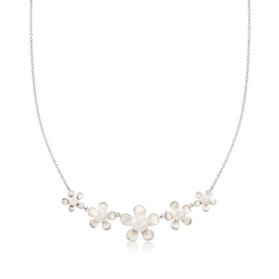 4-8.5mm Cultured Pearl Floral Necklace in Sterling Silver, , default