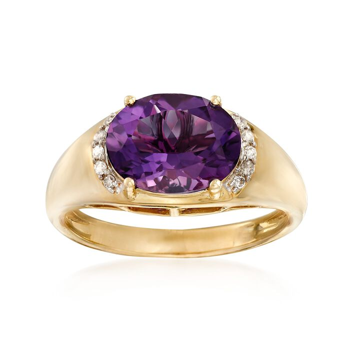 2.60 Carat Amethyst Ring with Diamond Accents in 14kt Yellow Gold