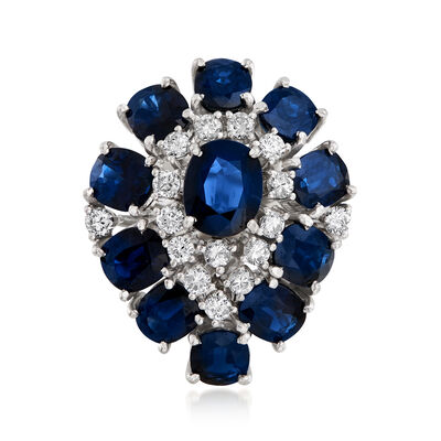 C. 1970 Vintage 7.55 ct. t.w. Sapphire and .65 ct. t.w. Diamond Ring in 14kt White Gold, , default