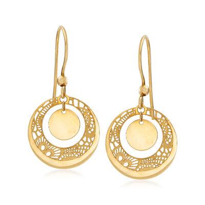 Italian 14kt Yellow Gold Filigree Drop Earrings #914981